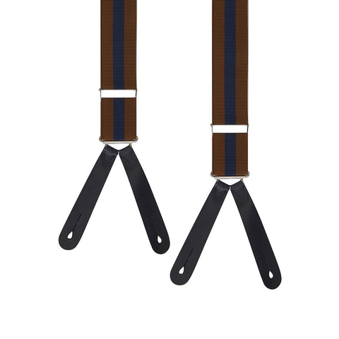 Brown and Navy Bold Stripe Military End Braces