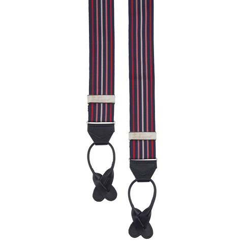 Navy and Pink Multi Stripe Barathea Elastic Braces