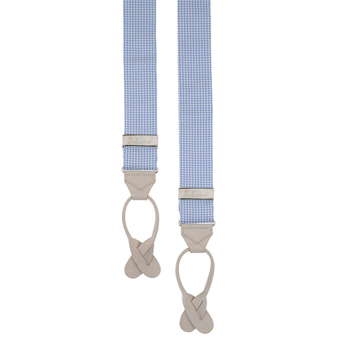 Blue and White Houndstooth Cotton Braces