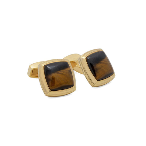 Gold And Tigers Eye Cufflinks
