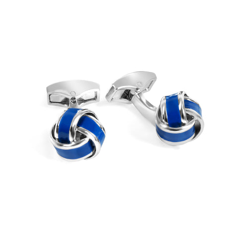 Blue Silver and Enamel Knot Cufflink