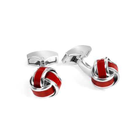 Red Silver and Enamel Knot Cufflink