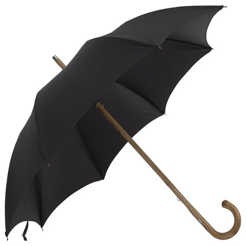 Hickory Wood-Handle Solid Black Umbrella