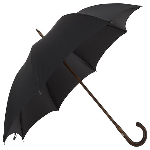 Dark Maple Wood-Handle Solid Black Umbrella