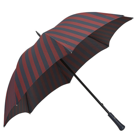 Navy and Burgundy Leather Contrast Top Stitch Handle Two Colour Umbrella