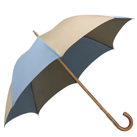 Blue and Beige Malacca Wood Handle Two Colour Panel Umbrella