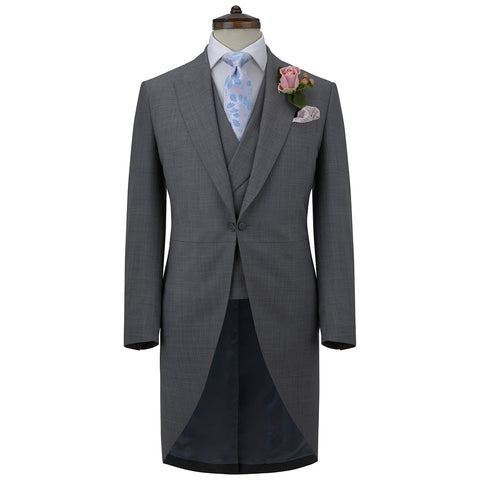 Grey Super 140's Wool Morning Coat