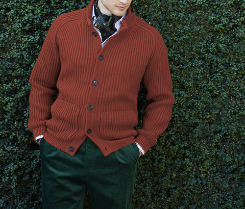 Kingsley Rust Ribbed Cardigan