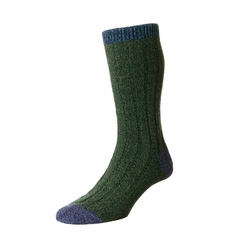 Burghley Green and Purple Heel and Toe Socks