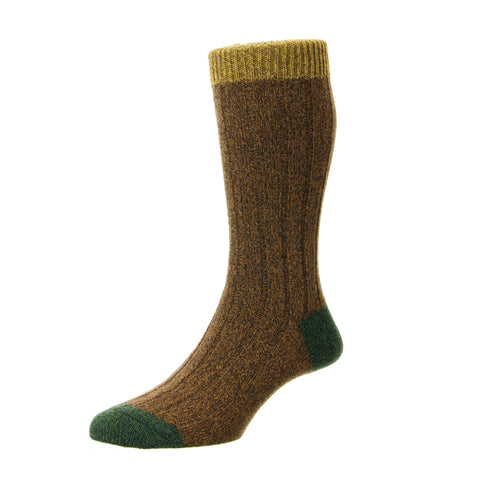 Burghley Beige and Green Heel and Toe Socks
