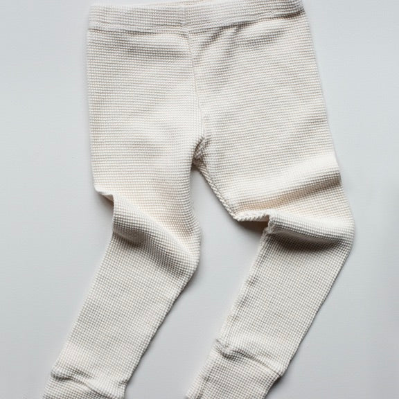 Leggings in Waffelpiqué in off-white