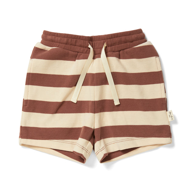 Shorts 'Lou' in striped fig brown