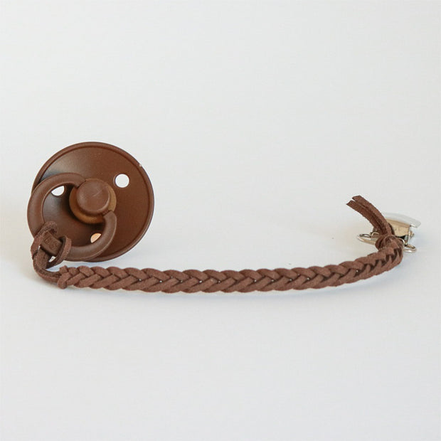 Schnullerkette 'Vegan Leather' in chocolate