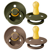 Schnuller 'Bibs' 2er-Pack in Hunter Green & Dark Oak