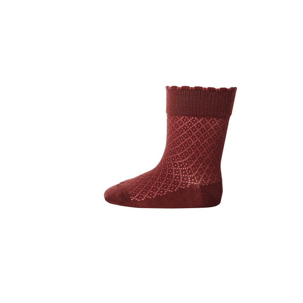 Merino-Socken 'Magda' in dark red