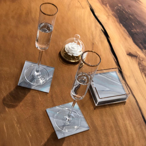 AQUA LAGOON AGATE COASTERS & HOLDER
