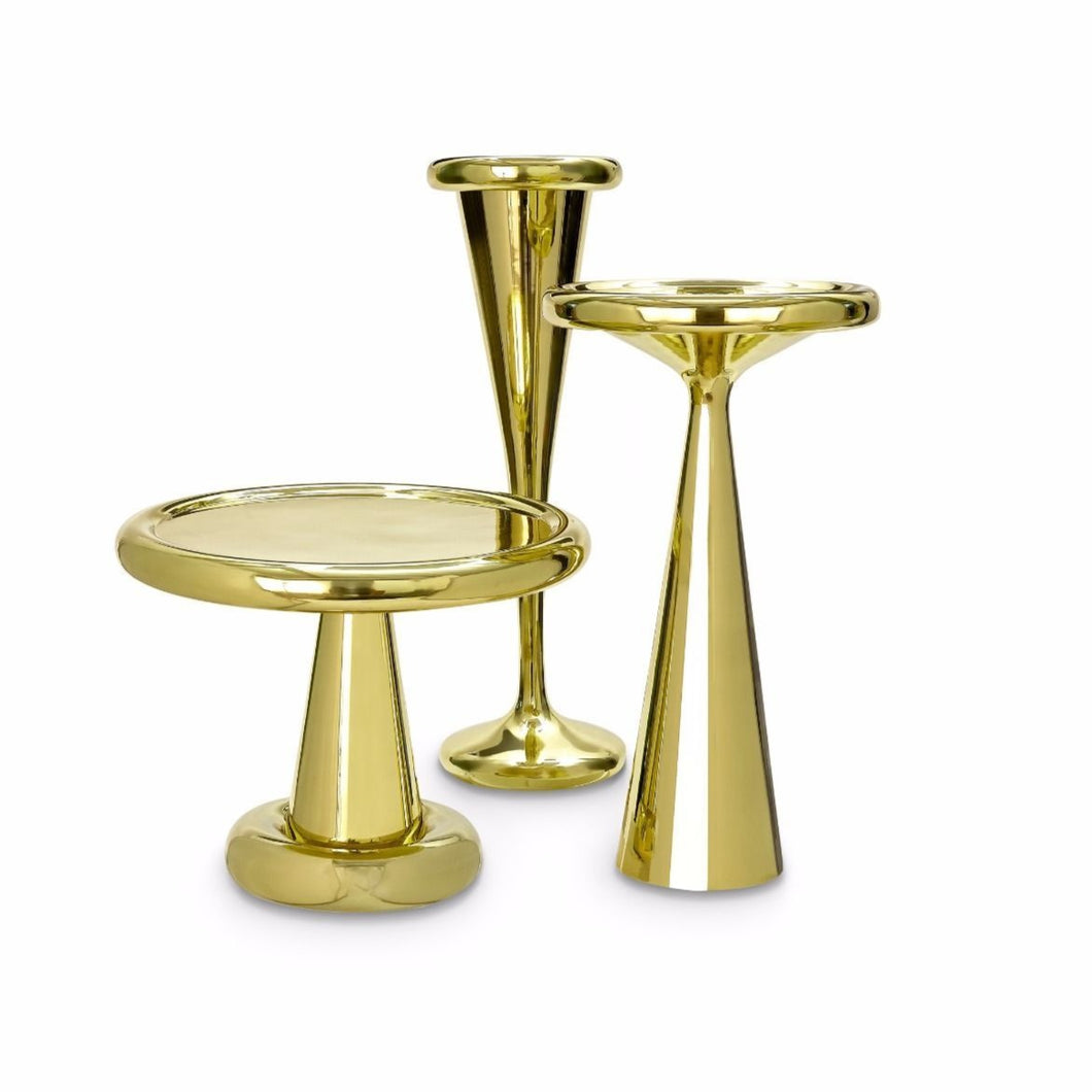 SPUN TABLE TALL BRASS