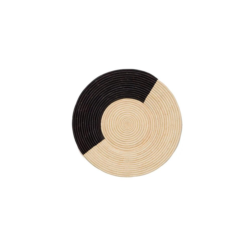 GEO BLACK + NATURAL RAFFIA PLATE