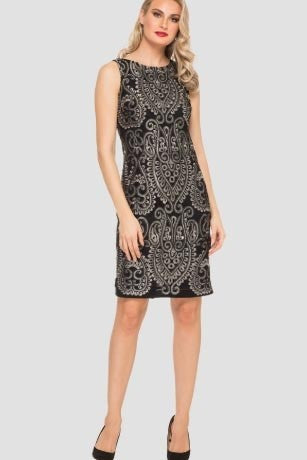 Joseph Ribkoff Embroidered-Scroll Dress