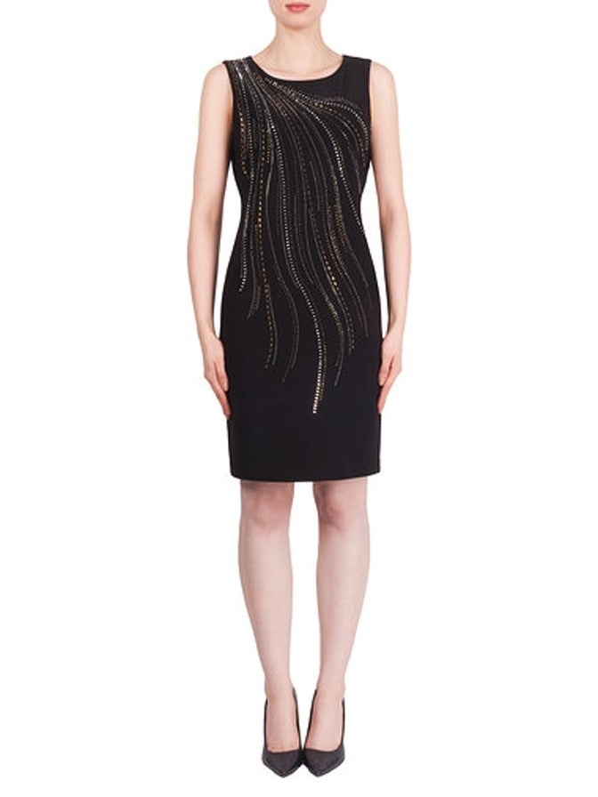 Joseph Ribkoff Embellished Rhinestone Dress Black