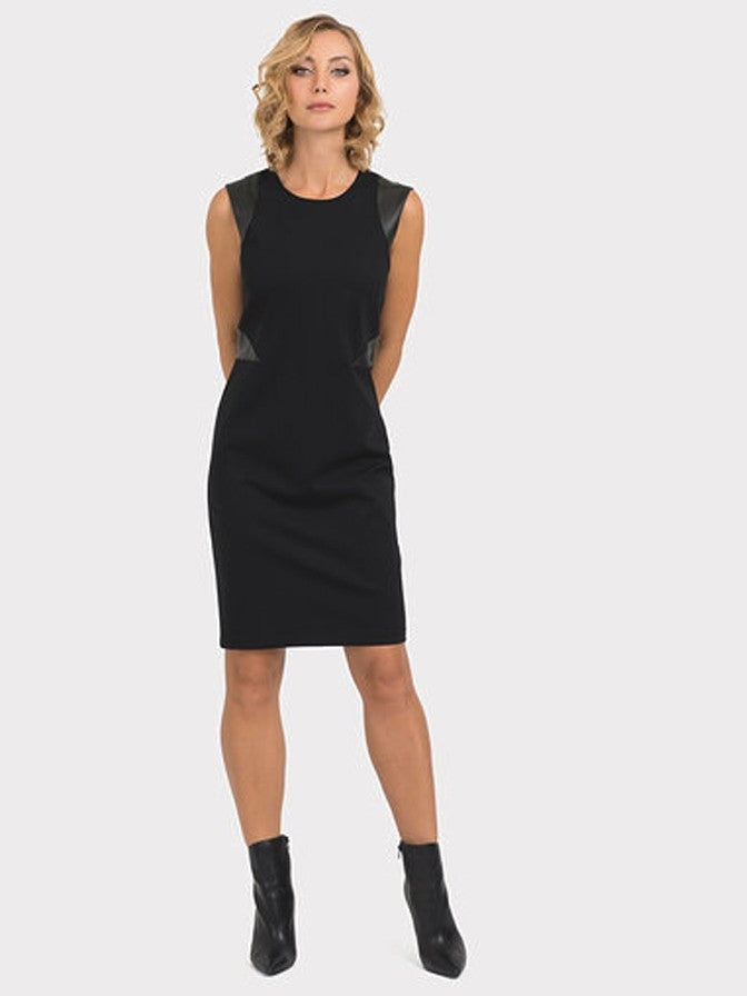 Joseph Ribkoff Vegan Leather Detail Dress