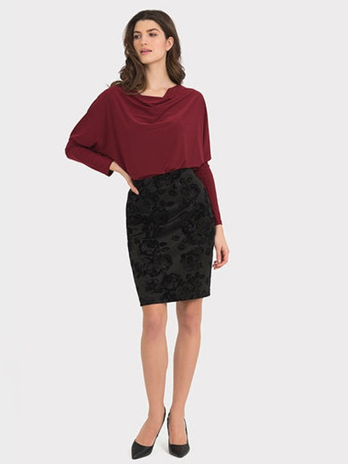 Joseph Ribkoff Velvet Flocked Skirt