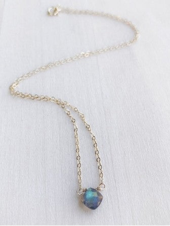 Hello Adorn TINY Labradorite Cushion Necklace