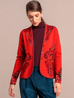 Ivko Floral Cardigan Red