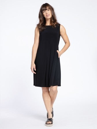 Sympli Sleeveless Trapeze Dress Short in Black