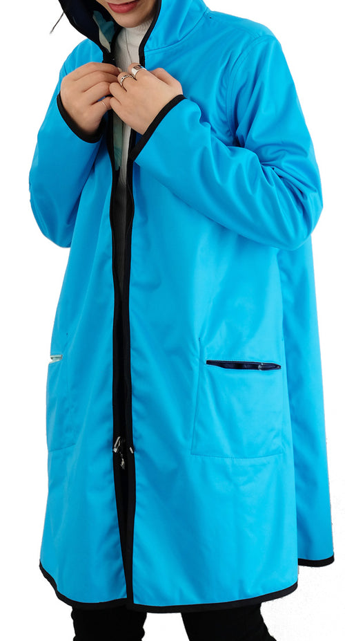 Winding River Waterproof Reversible Raincoat - Aqua