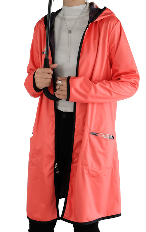 Winding River Waterproof Reversible Raincoat - Coral