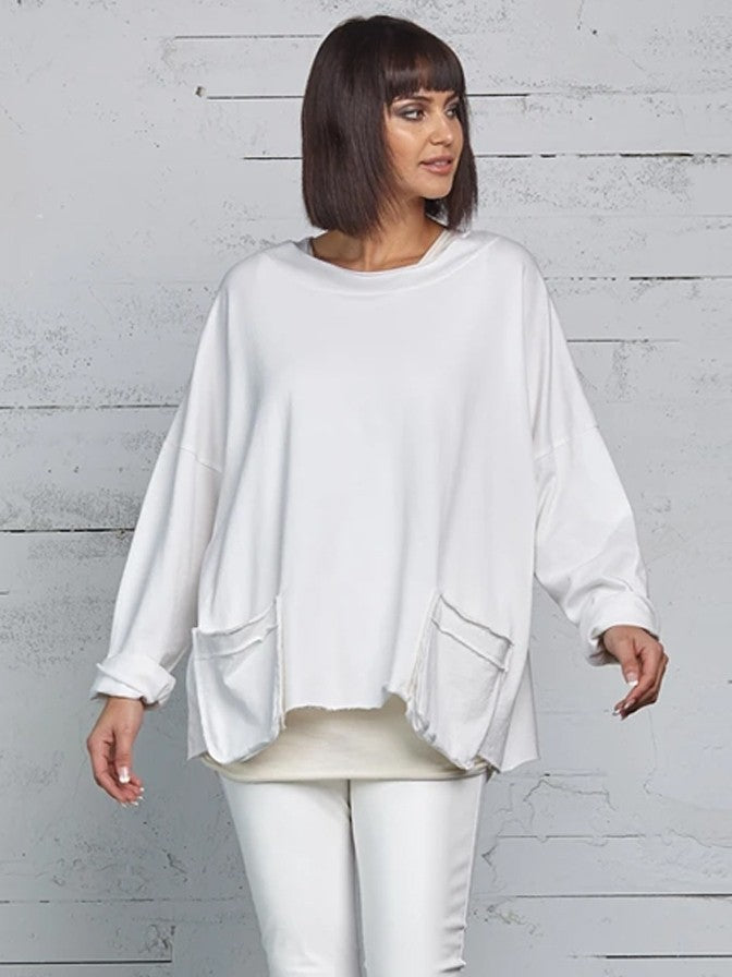 Planet 2 Pocket Top in White