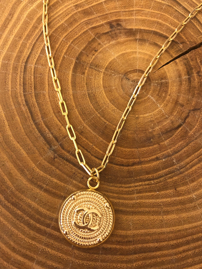 Julie Kreamer Chanel Button Necklace Paperclip Chain-Gold