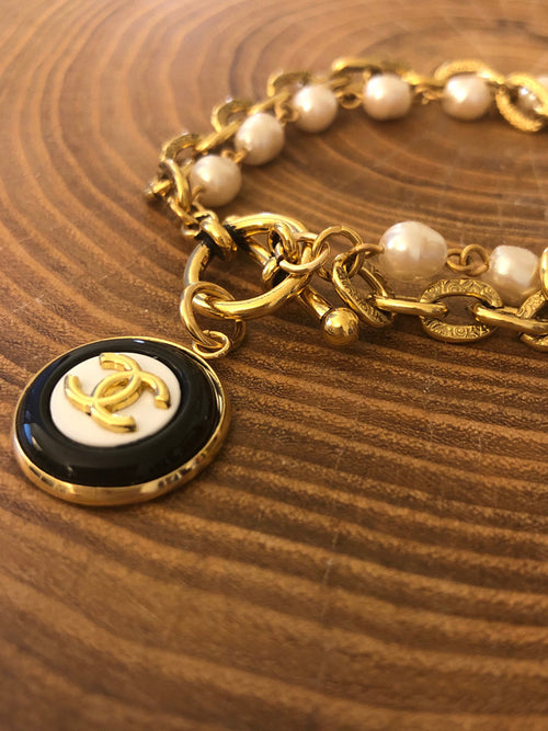 Julie Kreamer Chanel Button Bracelet with Pearls