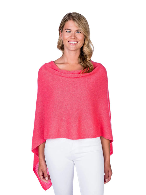 Alashan Cashmere Poncho in Coral Reef