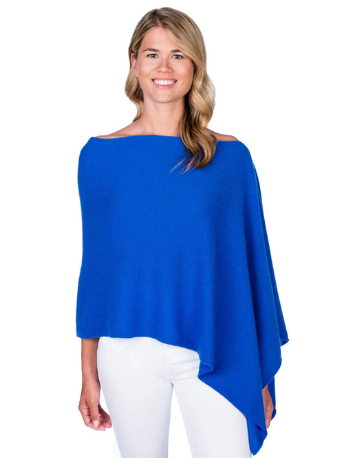 Alashan Cashmere Poncho in Cruise Blue