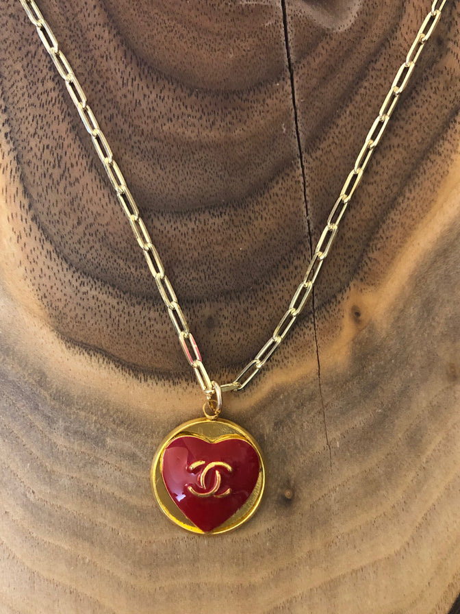 Julie Kreamer Chanel Button Necklace Paperclip Chain-Heart
