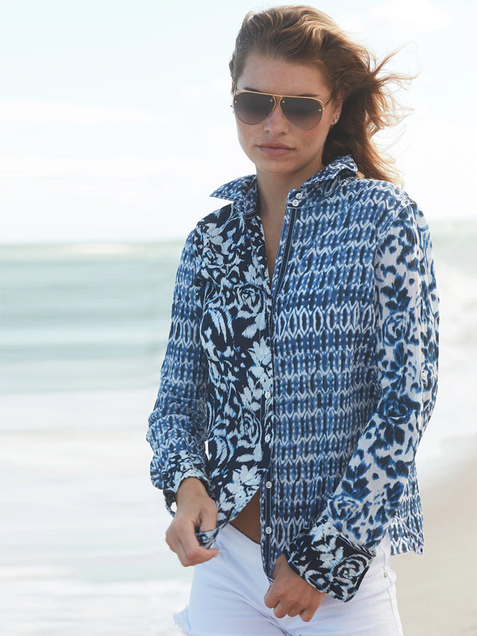 Cino Patchwork Shirt-Ocean Blues