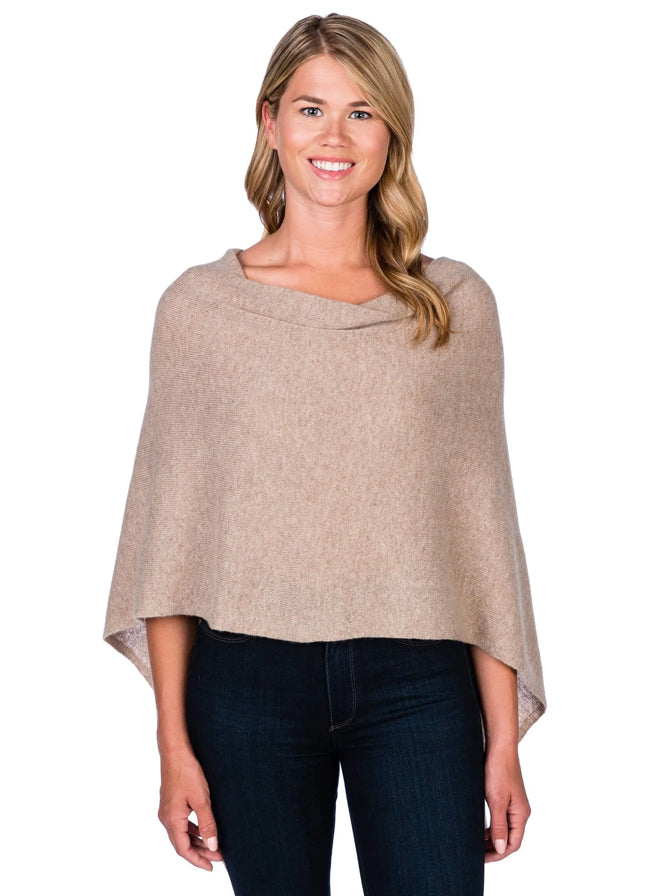 Alashan Cashmere Poncho in Natural