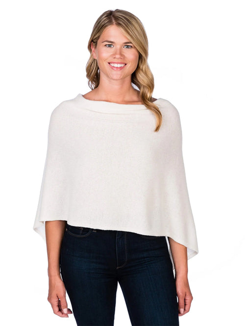 Alashan Cashmere Poncho in Snow