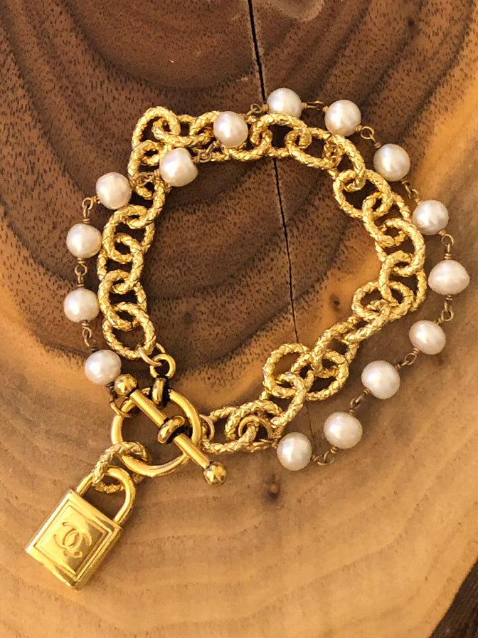 Julie Kreamer Chanel Zipper Pull Bracelet with Pearls