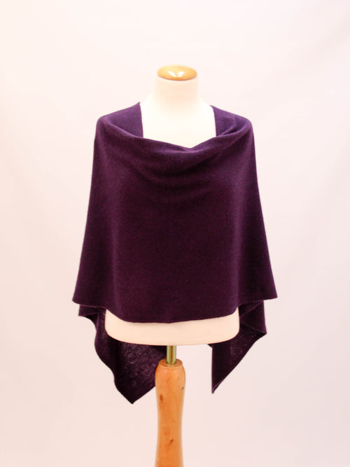 Alashan Cashmere Poncho in Cabernet