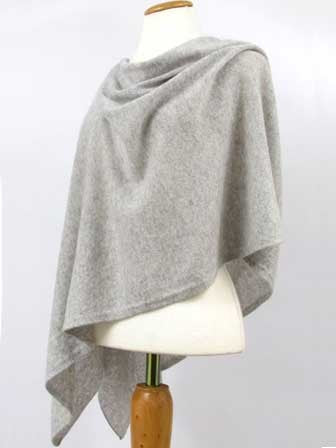 Alashan Cotton/Cashmere Poncho in Ash