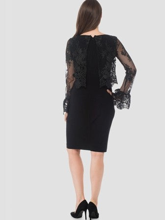 Joseph Ribkoff Black Long Sleeve Lace Dress