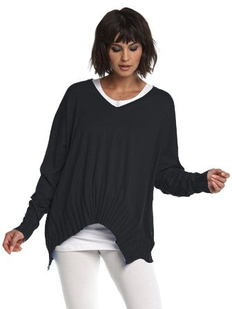 Planet Rib V Neck Sweater in Black