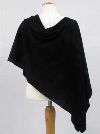 Alashan Cotton/Cashmere Poncho in Ebony