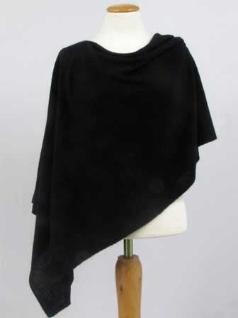 Alashan Cashmere Cotton/Cashmere Poncho in Ebony