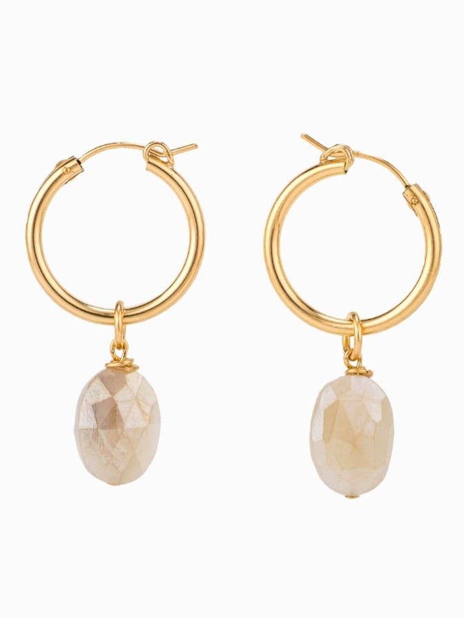 TAYLOR AND TESSIER GOLD CHALCEDONY HOOPS