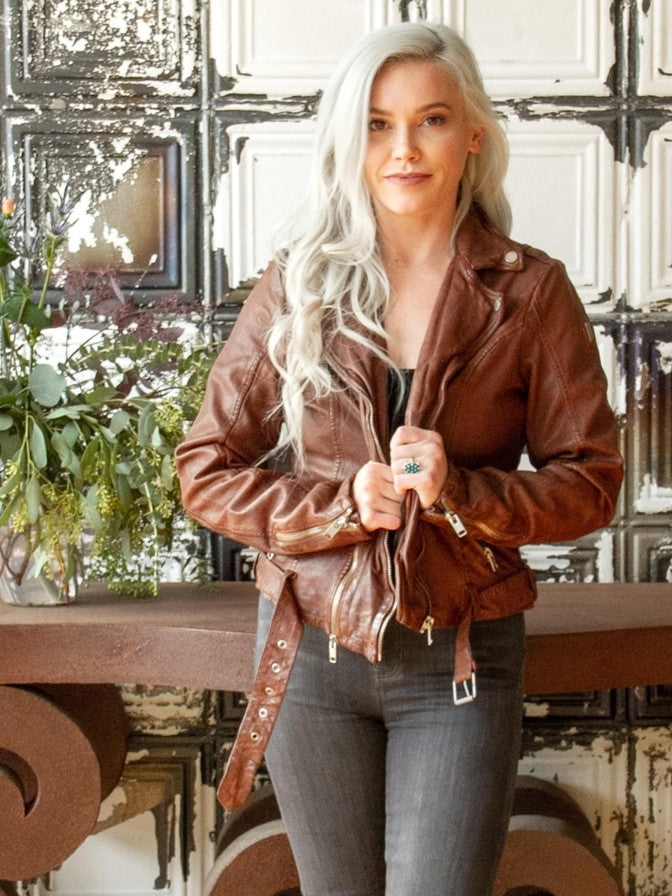 Mauritius Wild Leather Jacket in Cognac