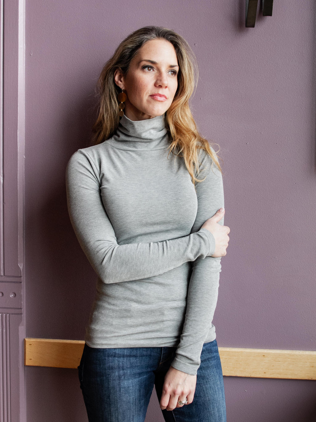 Cest Moi Bamboo Turtleneck Heather Silver